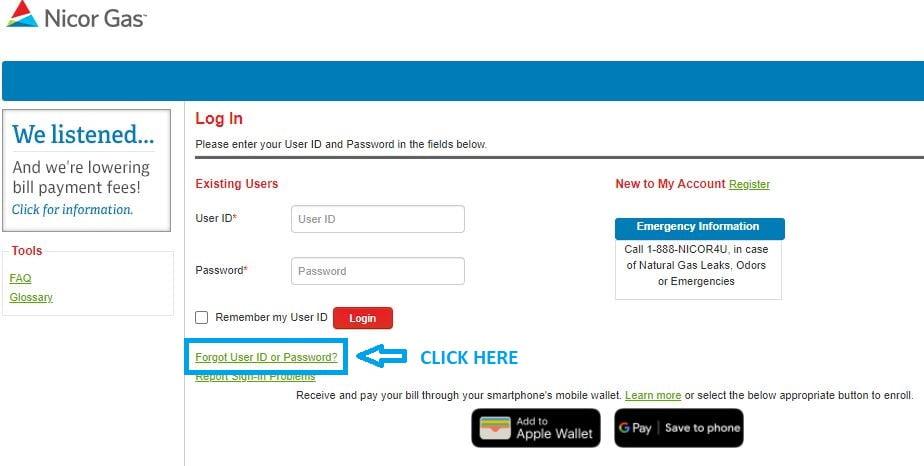 Nicor Login forgot password step 1
