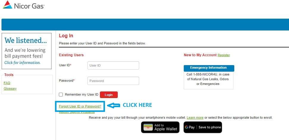 Nicor Login forgot User ID step 1