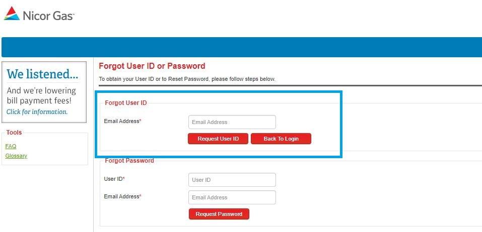 Nicor Login forgot User ID step 2