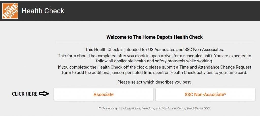 Home Depot Health Check Associate Login