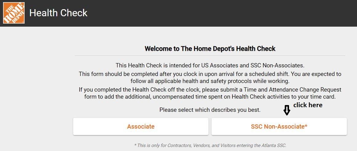 Home Depot Health Check SSC Non-Associate Login