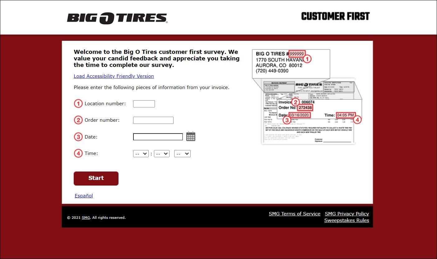 Big O Tires Customer First Survey